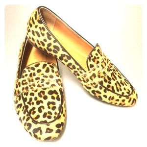 Leopard print j.crew loafers